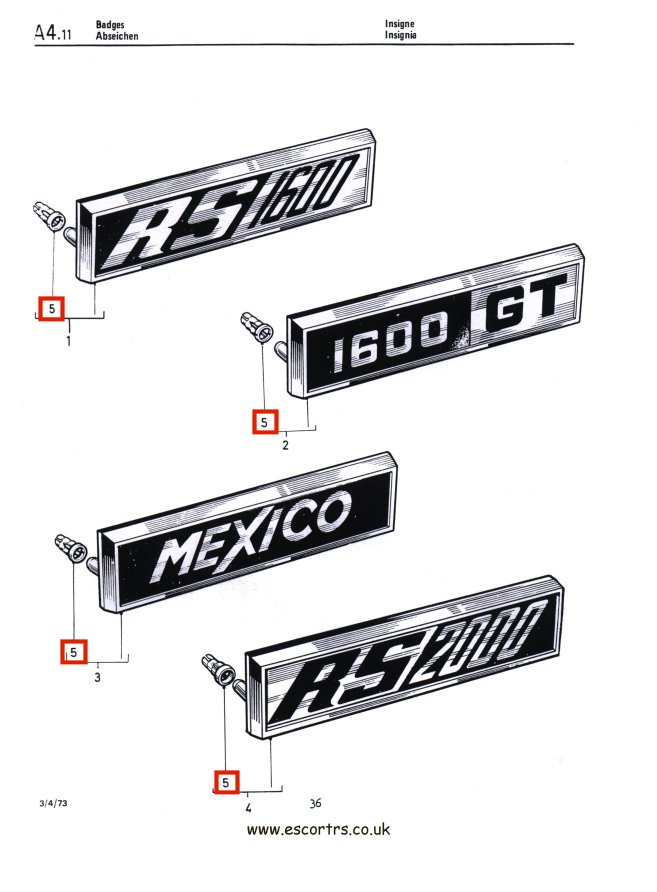 Mk1 Escort Badge Clips Factory Drawing #1