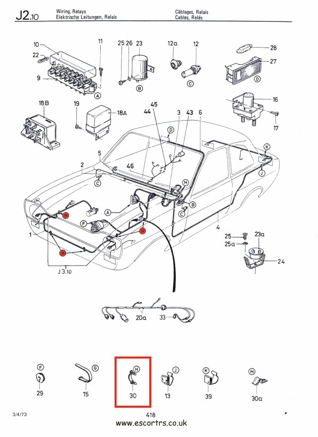 enginebayloomclipsdraw01 grey ford logo engine bay loom clips mk1 & mk2 escort rs2000 escort mk1 wiring diagram at creativeand.co
