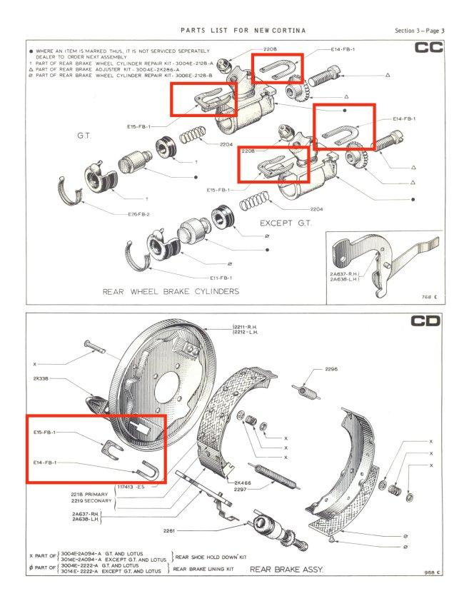 Rear Brake Retaining Clips Mk2 Cortina Girling Type 75