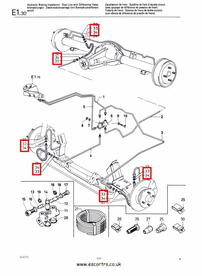 Brake Flexi Hose To Inner Wing Nuts Mk1 Escort Rs2000