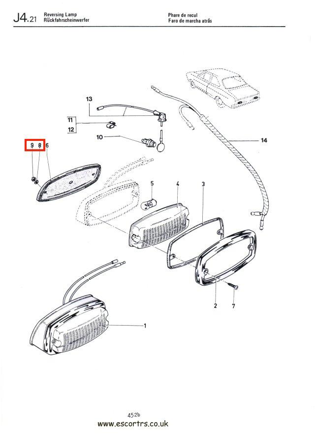 reverse light half nut  u0026 washer mk1 escort rs2000  1600
