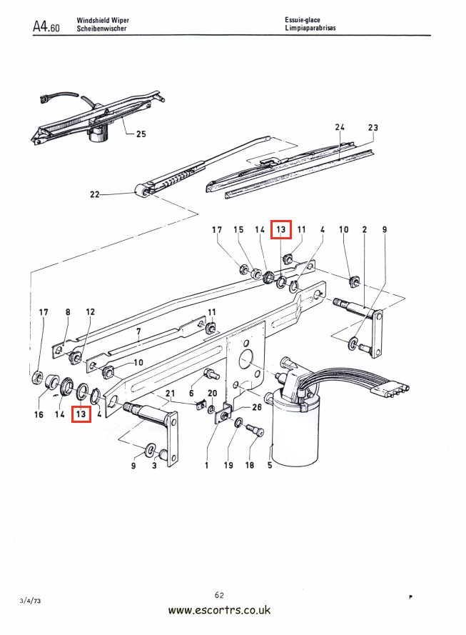 Mk1 Escort Inner Wiper Spindle Seals Factory Drawing #1